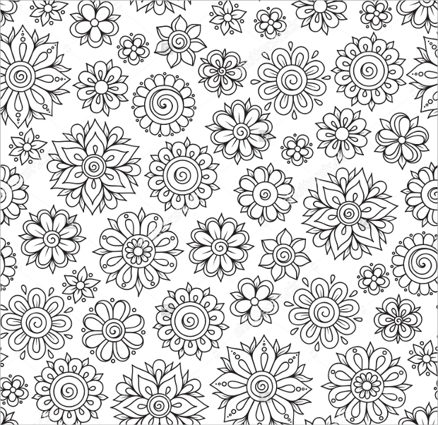 retro floral pattern design1