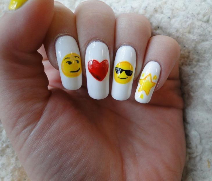 yellow emoji nail design