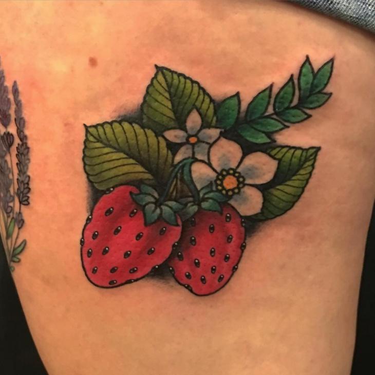 Strawberry Tattoo Design Idea