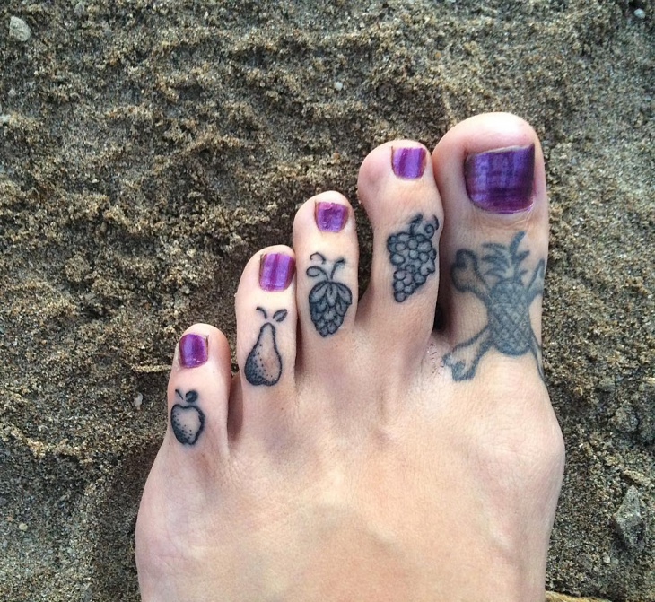 Black Small Fruits Tattoo on Toes