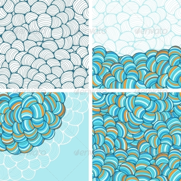 Seamless Abstract Wave Hand Drawn Patterns