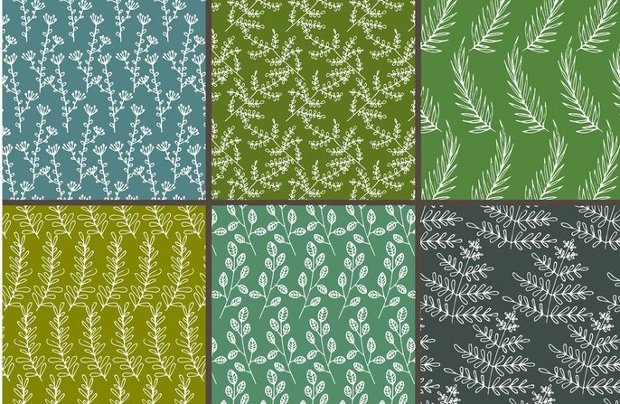 natural hand drawn seamless patterns