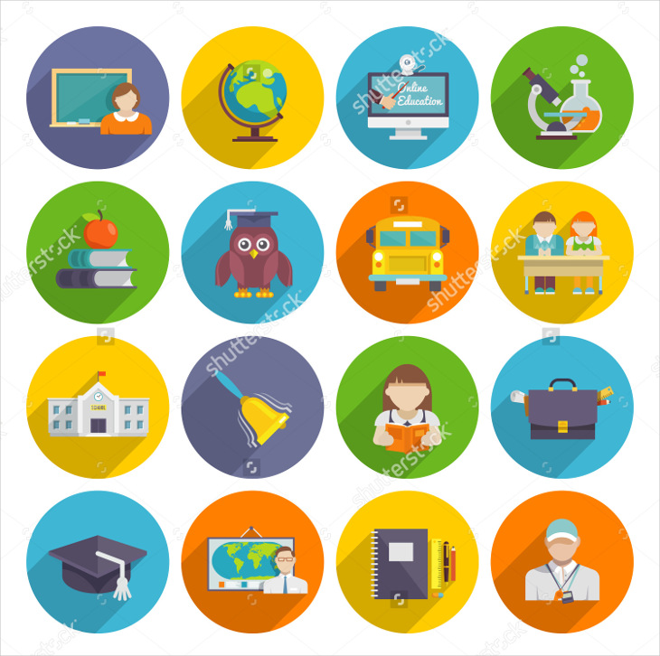 Isolated Vector School Icons