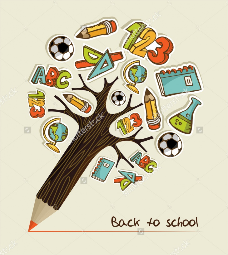 pencil tree school icons2