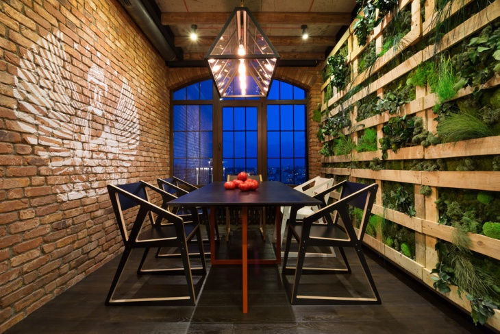 interior dining wall herb garden