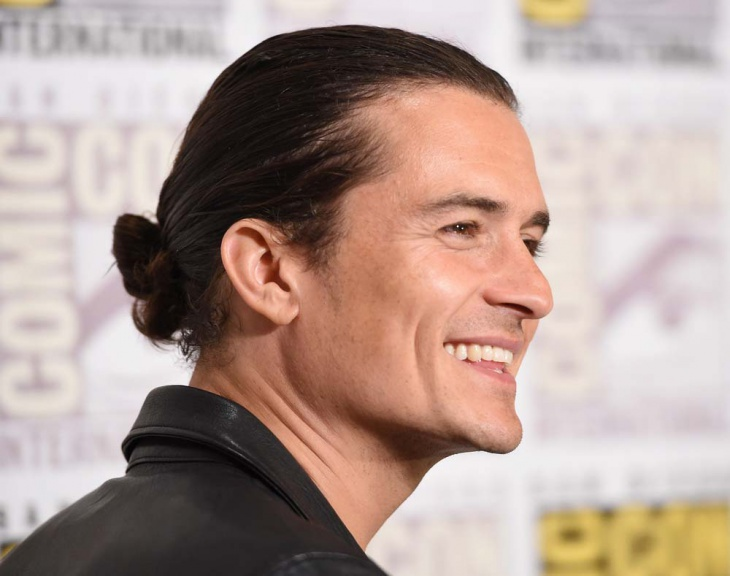orlando bloom low sleek bun