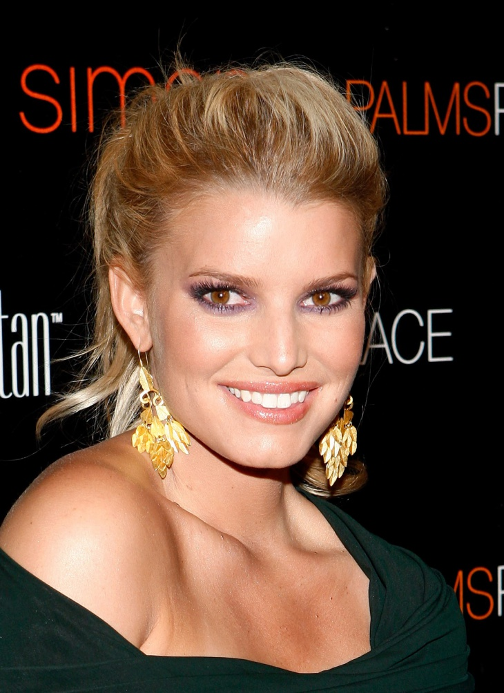 jessica simpson long ponytail haircut
