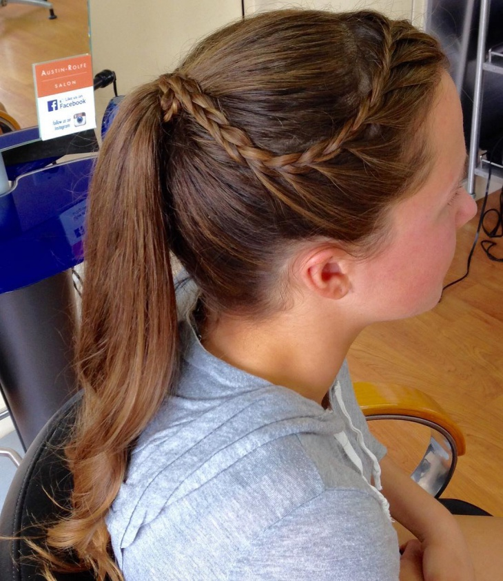 fancy braided bang ponytail