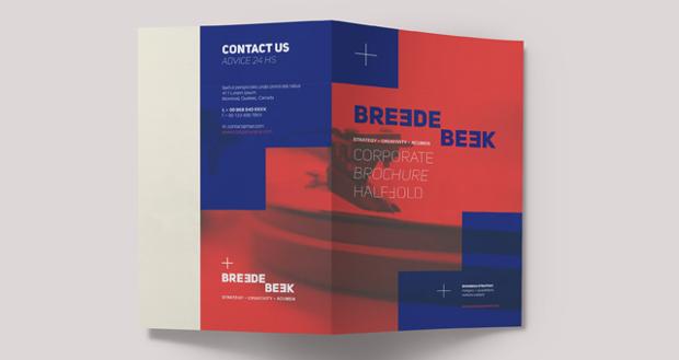 High Resolution Half Folded Brochure Template