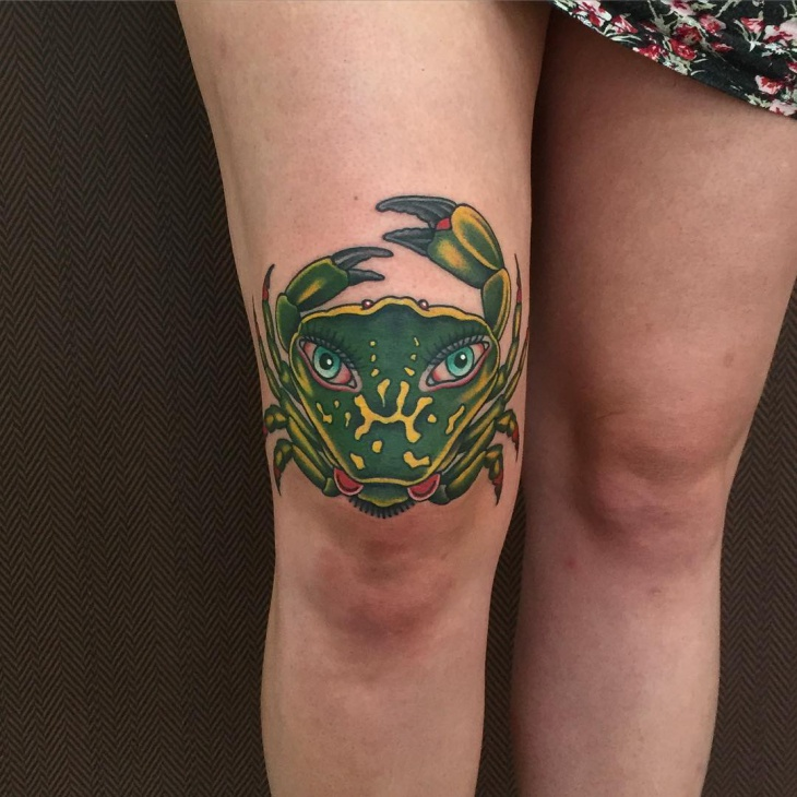 Green Crab Knee Tattoo