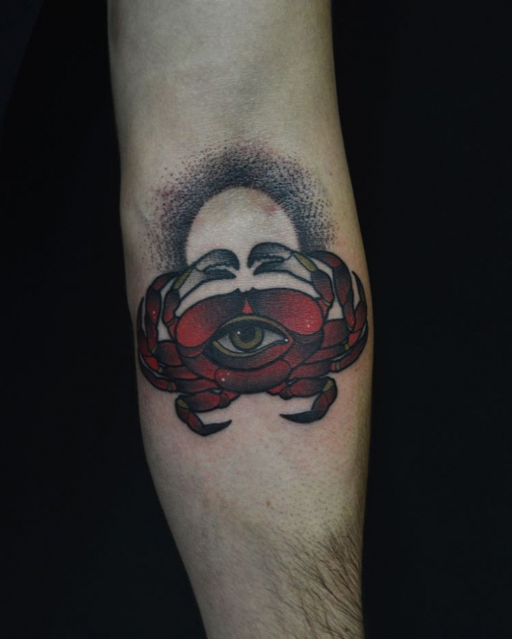 Creative Crab Hand Tattoo Design