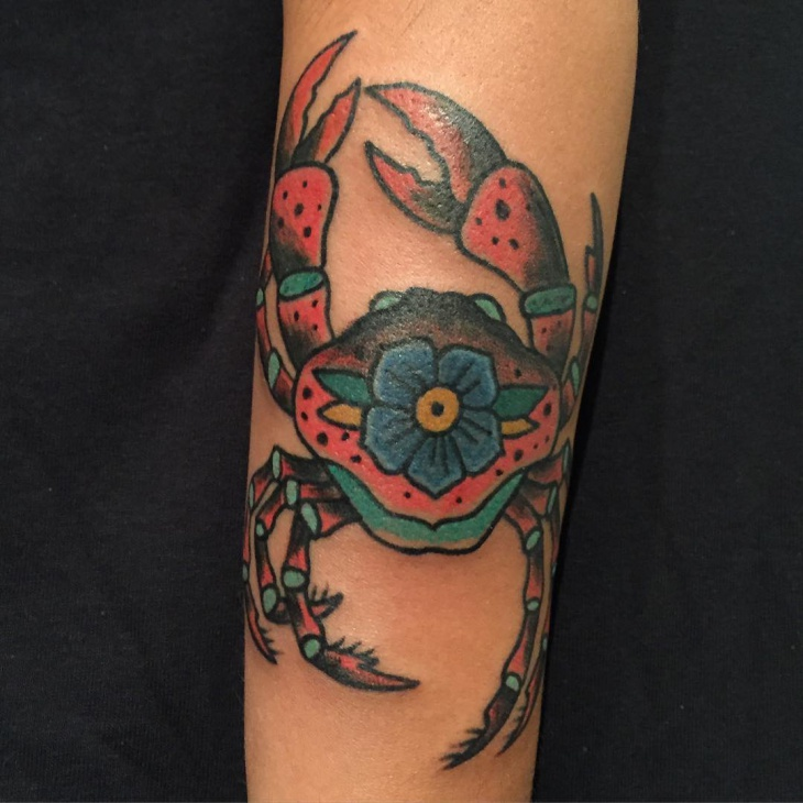 Crab Tattoo with Flower