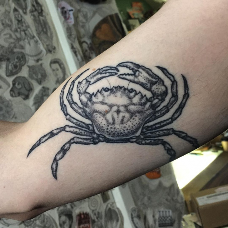 Crab Dot Work Leg Tattoo