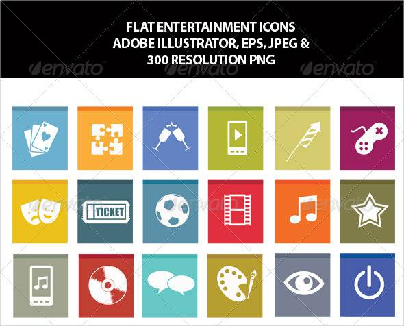 Flat Entertainment Icons