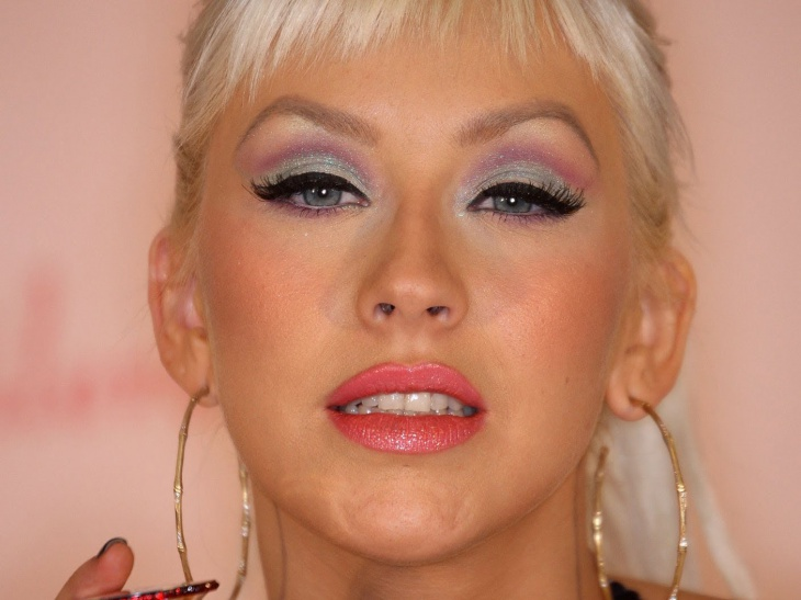 christina aguilera with colorful makeup