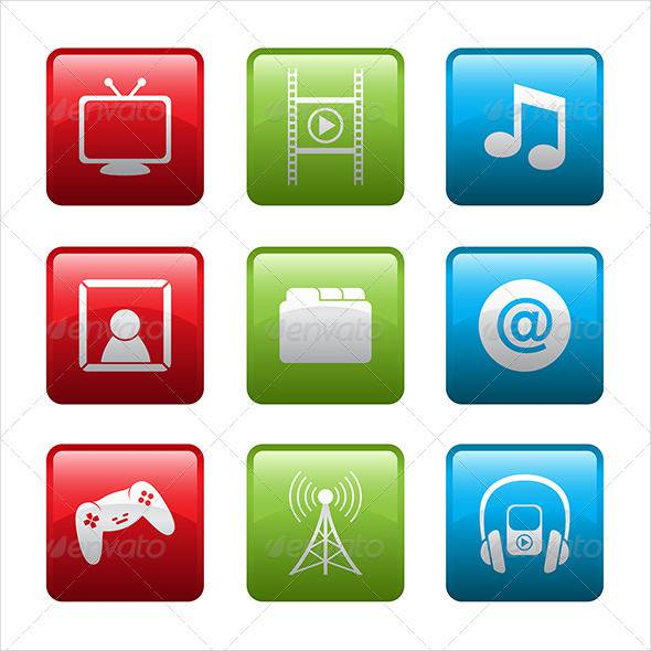 Electronic Multimedia Icons