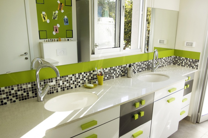 Bathroom Lime Green Wall Design