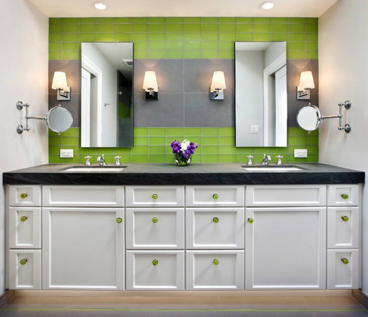 Bathroom lime green interiors