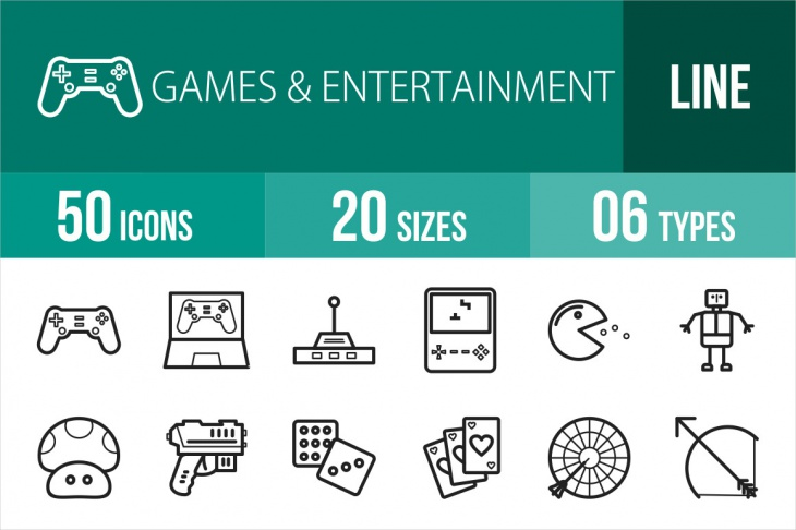 Video Games and Entertainment Line Icons