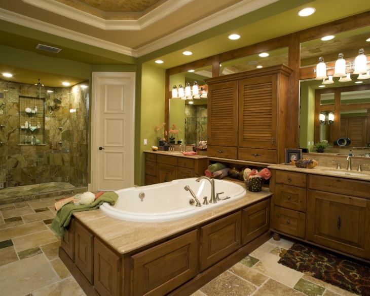 fantastic wooden green bathroom