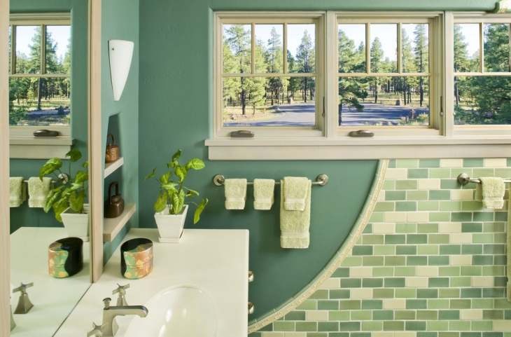 decorate green bathroom with best scenic view