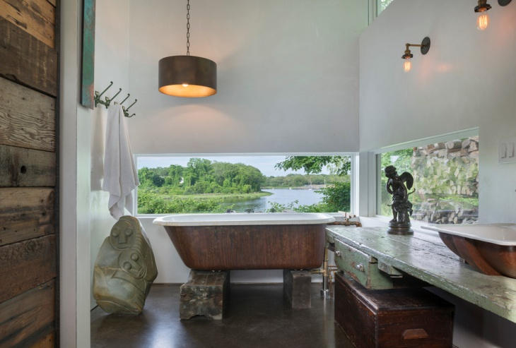 fantastic greenery view bathroom