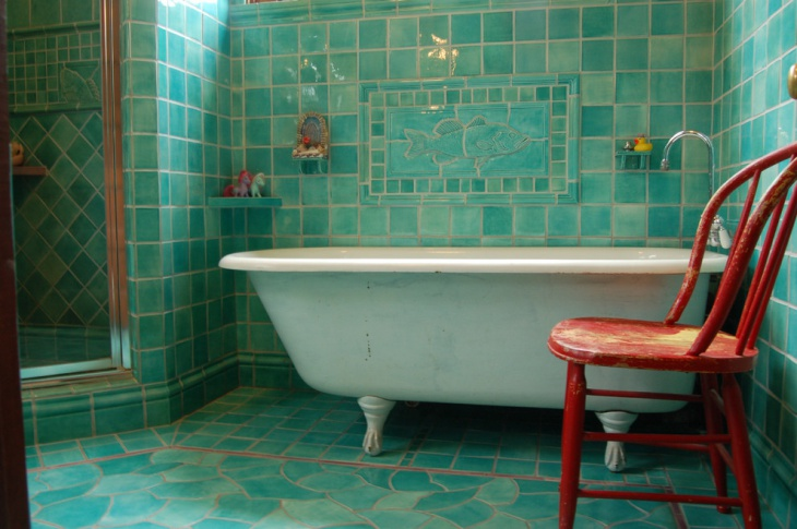 green wall tiles bathroom