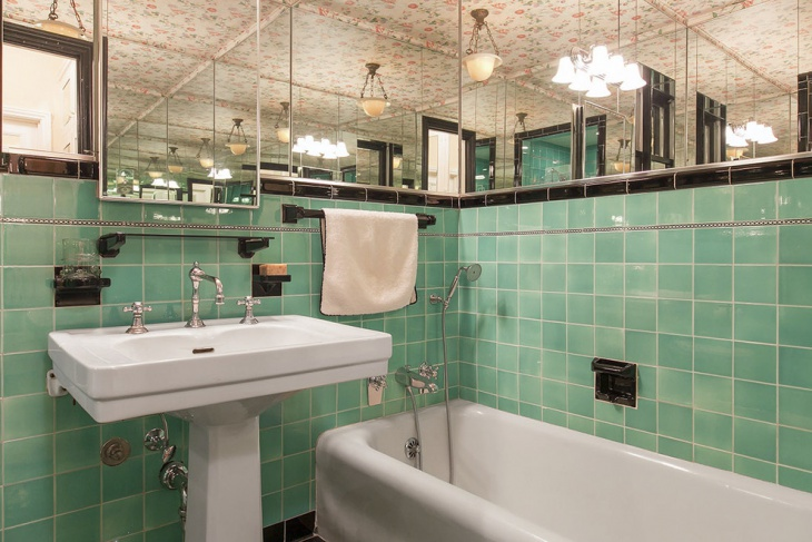 mirror art deco bathroom with green tiles
