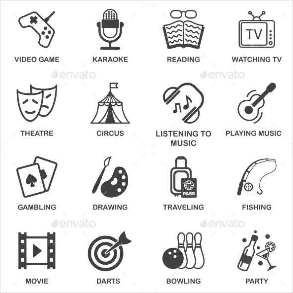 Entertainments Icons Set with Titles.