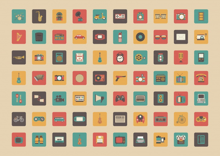 retro entertainment icons