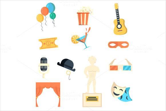 entertaining icons flat set1