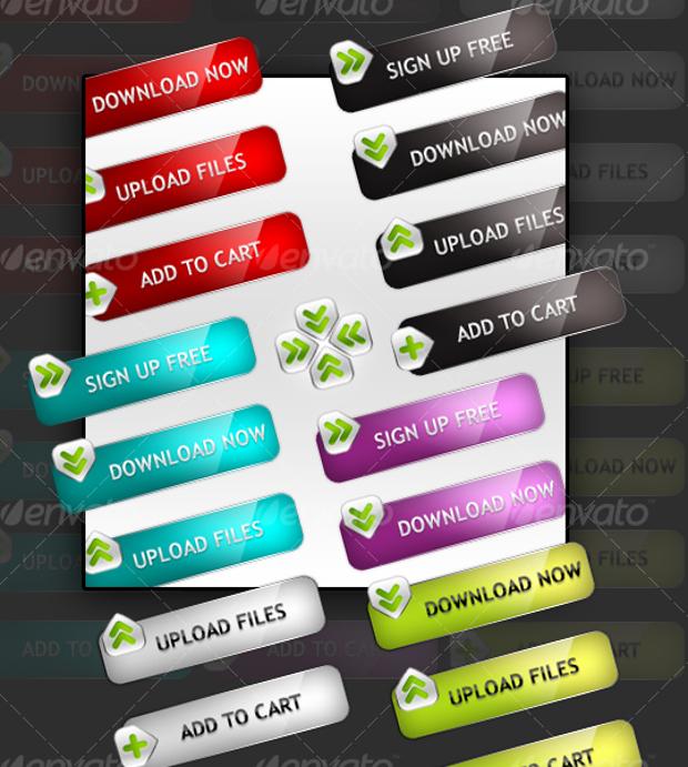 Modern Glossy Buttons Design