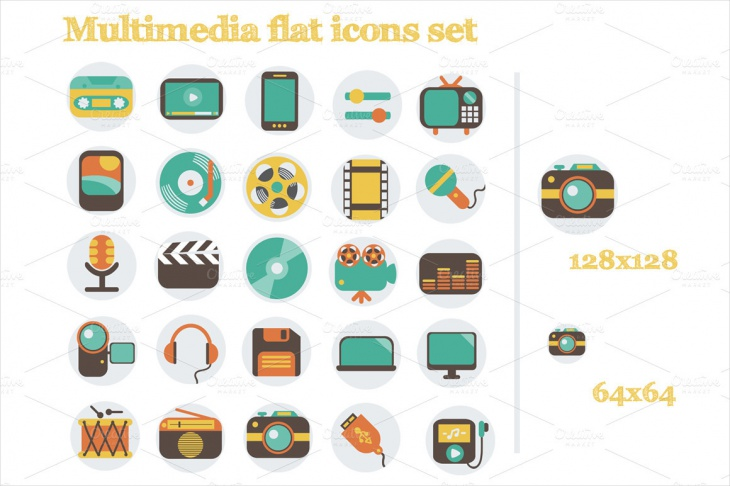 multimedia flat icons set1
