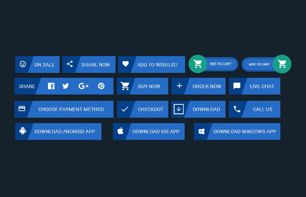 flat e commerce website buttons