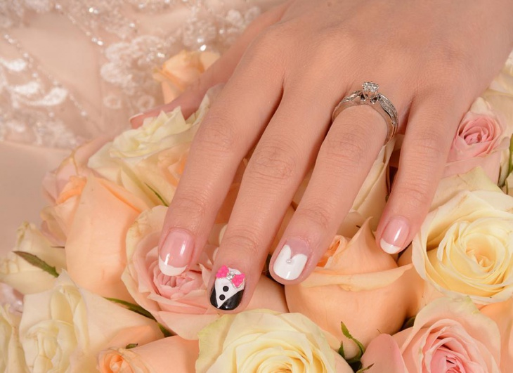 tuxedo nail art for short nails