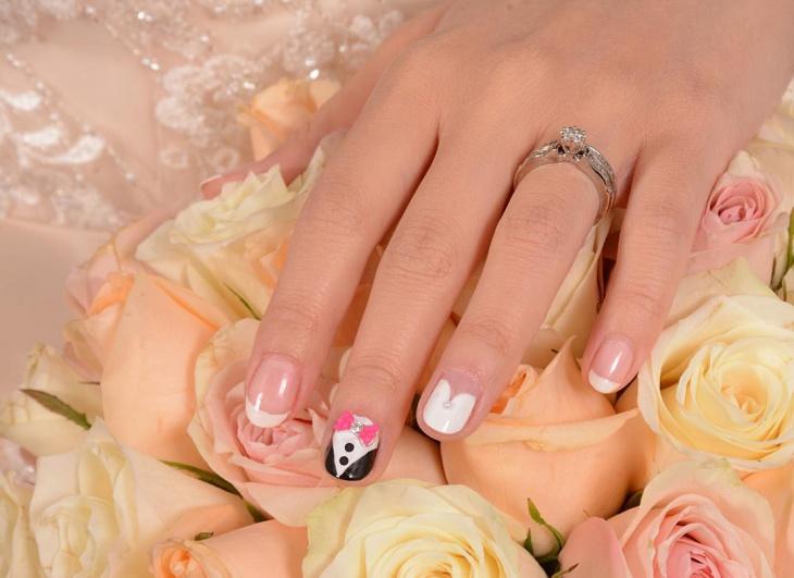 Tuxedo Nail Art For Short Nails