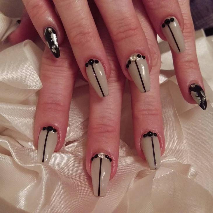 Tuxedo Nails With Rhinestones
