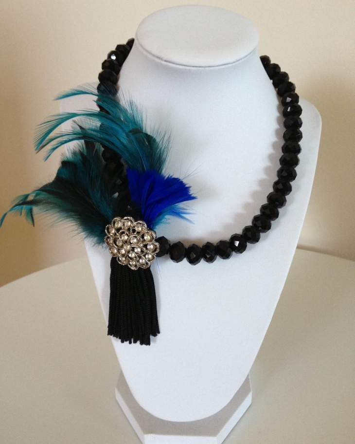 Black Crystal Beads Necklace