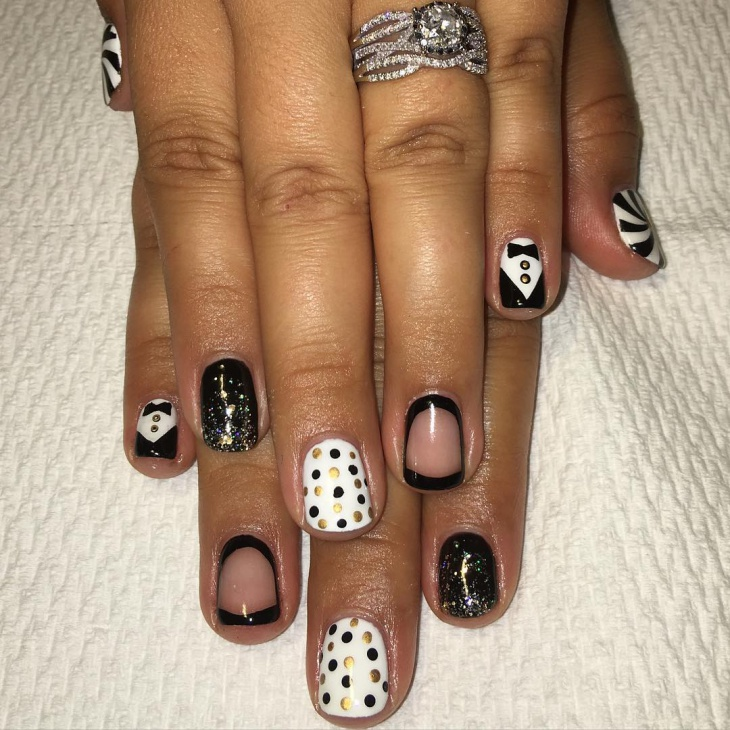 Polka Dot Tuxedo Nail Design