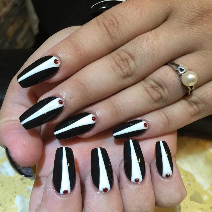 Tuxedo Long Nail Design
