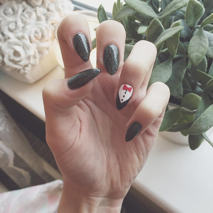 Simple Tuxedo Nail Art Design