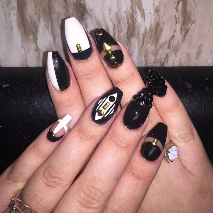 Black and Gold Stones Nail Art