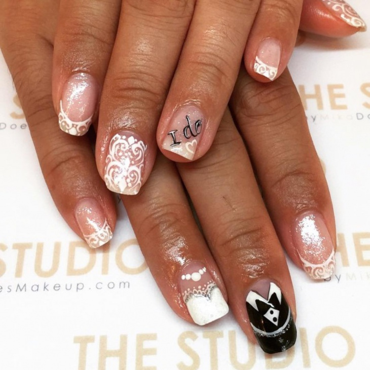 lace nail art for wedding