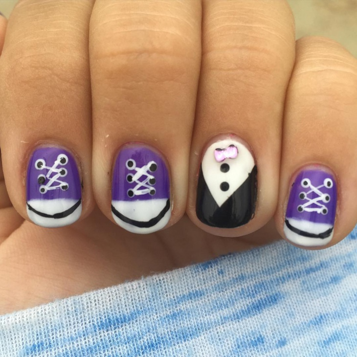 purple color nail art idea1