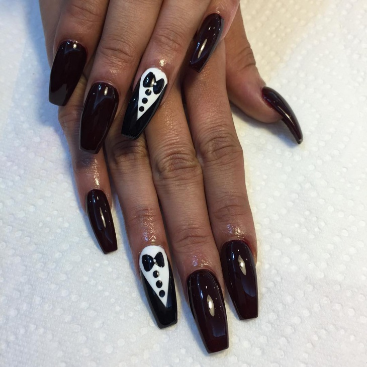 unique tuxedo long nail art idea