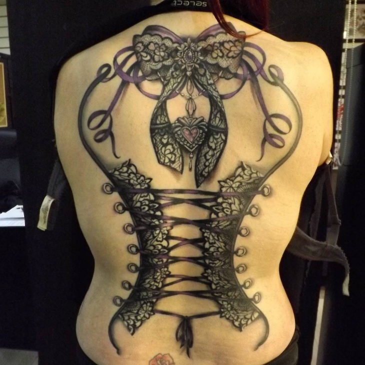 Tribal Corset Tattoo on Back