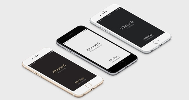 3d View iphone 6 PSD Mockup
