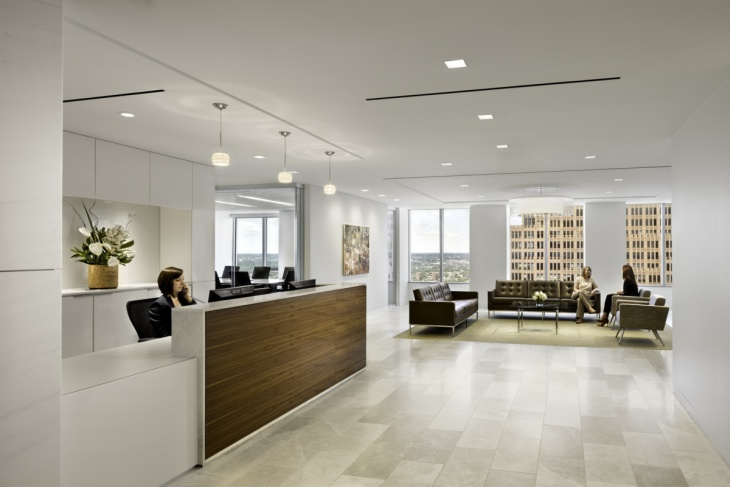 office renovation interiors with ceiling lights