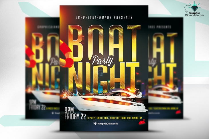 Boat Night Party PSD Flyer Idea