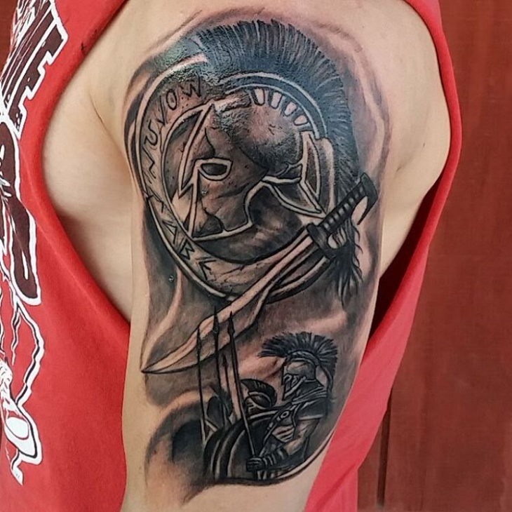 spartan shield tattoo idea